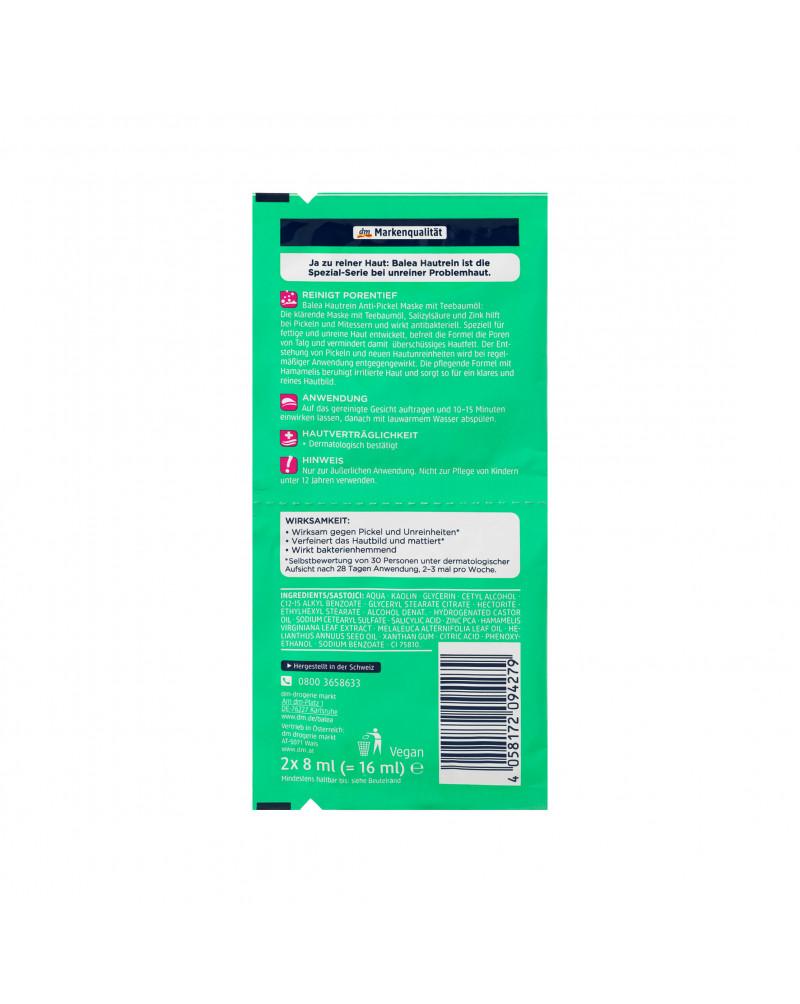 Maske Hautrein Anti-Pickel Маска для лица против прыщей с маслом чайного дерева, салициловой кислотой и цинком, 2 x 8 мл.
