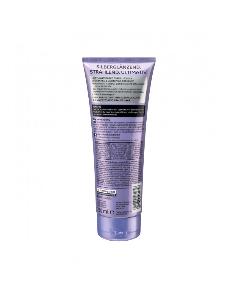 Shampoo Silberglanz Шампунь с экстрактом коры белой ивы, отбеливающий, для блондинок, 250 мл