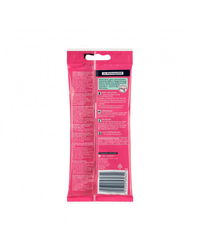 Women Einwegrasierer 2-Klingen Женские одноразовые станки для бритья с 2-мя лезвиями и полоской с алоэ вера и витамином Е, 5 штук