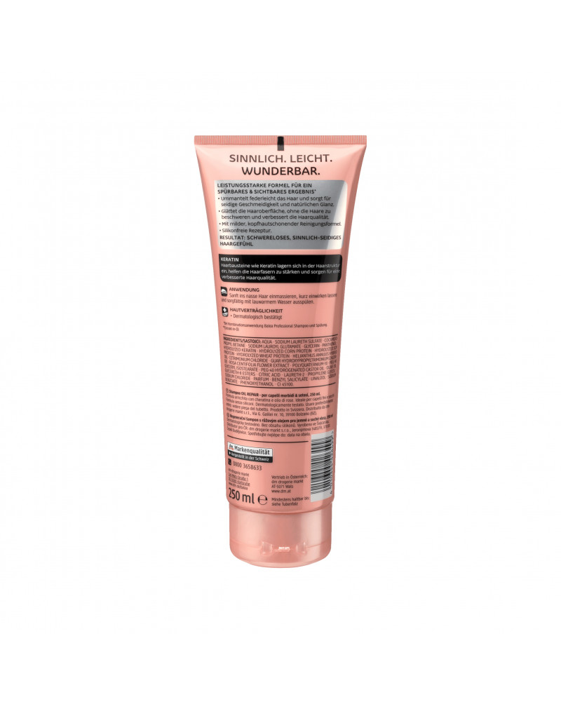 Shampoo Oil Repair Schwerelos Шампунь с экстрактом цветов розы, оливковым и касторовым маслом для тонких и ломких волос, 250 мл