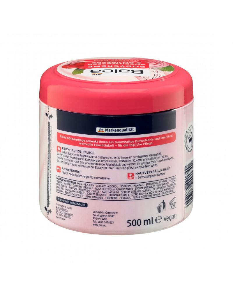 Pflegecreme Rosenwasser & Gojibeere Крем для тела с розовой водой и экстрактом ягод годжи, 500 мл.