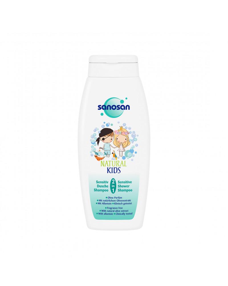 Kids Dusche & Shampoo Natural Kids 2in1 Sensitiv Шампунь-гель для душа 2 В 1 с экстрактом оливы и аллантоином, 250 мл