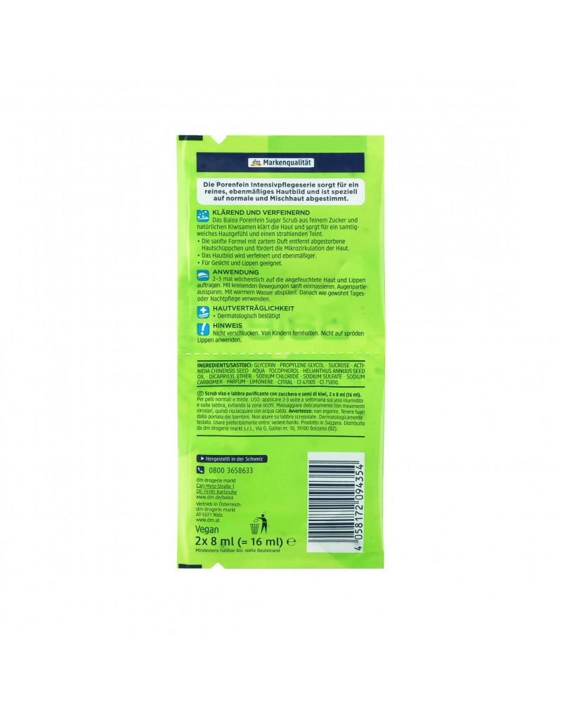 Balea Young Porenfein Sugar Scrub Сахарный скраб для лица и губ  с семенами киви,16 мл (2шт *8 мл)