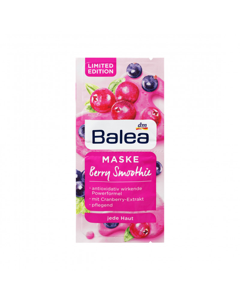 Sachetmaske BerrySmoothie Маска для лица расслабляющая и успокаивающая,с пантенолом, экстрактом клюквы и квиноа,16 мл (2шт *8 мл)