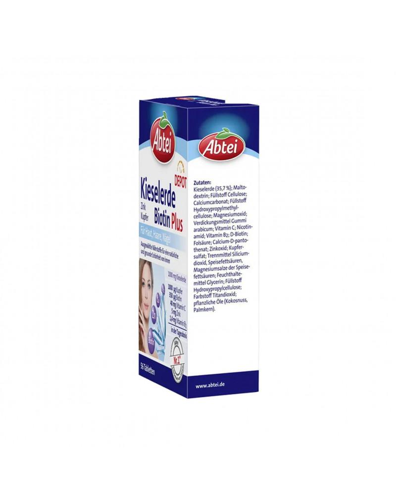 Kieselerde Biotin Plus Depot Tabletten Комплекс витаминов для красоты волос, кожи и ногтей, биотин, цинк, медь, кремнезем, 56 шт.