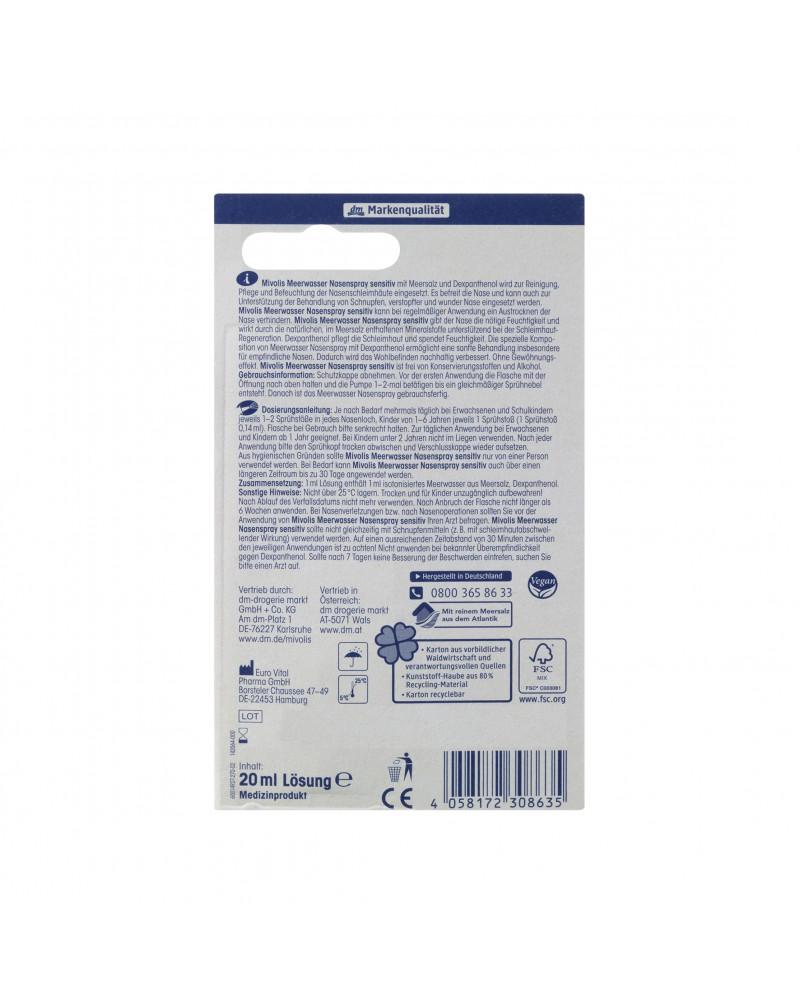 Meerwasser Nasenspray Sensitiv Спрей для носа с морской водой для чувствительной кожи, 20 ml
