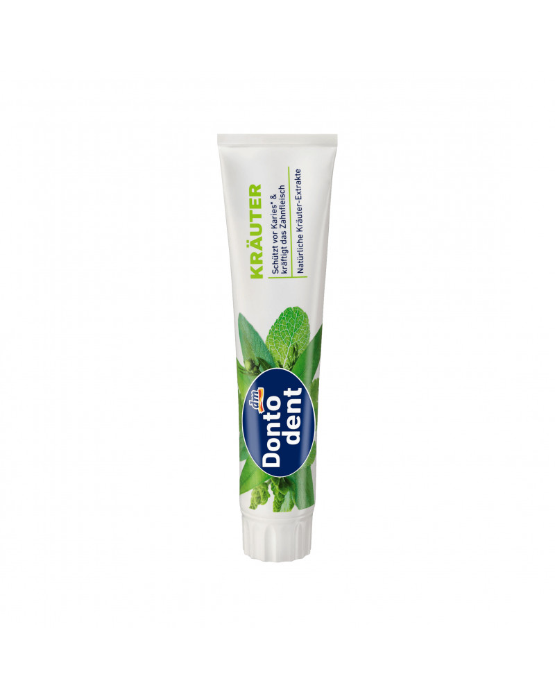 Zahnpasta Kräuter Зубная паста с экстрактами эвкалипта, ромашки, мирры, шалфея и мяты для защиты зубов от кариеса, 125 мл