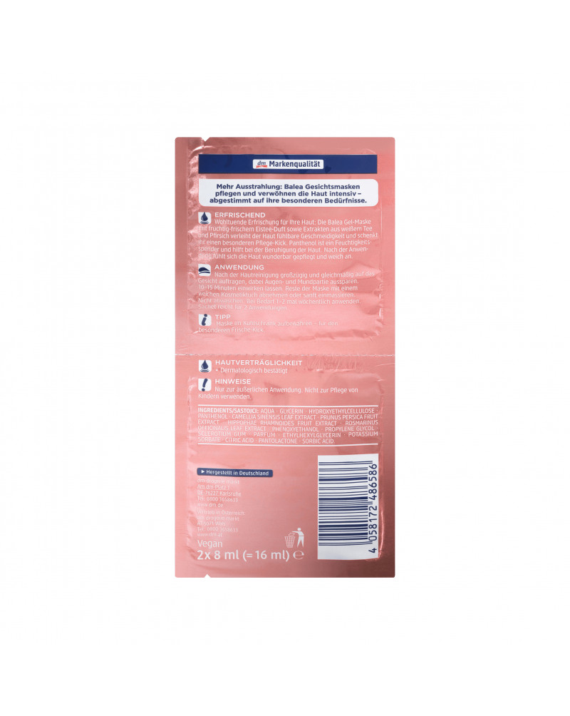 Maske Peach Ice Tea Маска для лица с экстрактом ромашки, белого чая, облепихи, розмарина и персика, 2 x 8 мл.