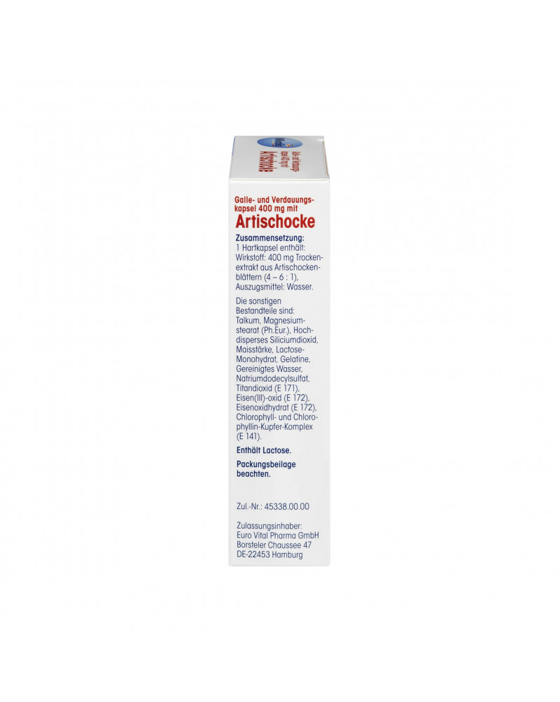 Galle- und Verdauungskapsel 400 mg mit Artischocke Капсула от желчи и для пищеварения с артишоком, 60 шт.