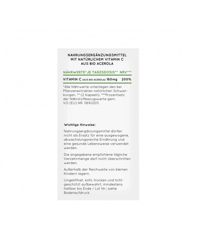 Natürliches Vitamin C Bio Acerola Kapseln Капсулы с натуральным витамином С из органической ацероллы, 180 Шт.