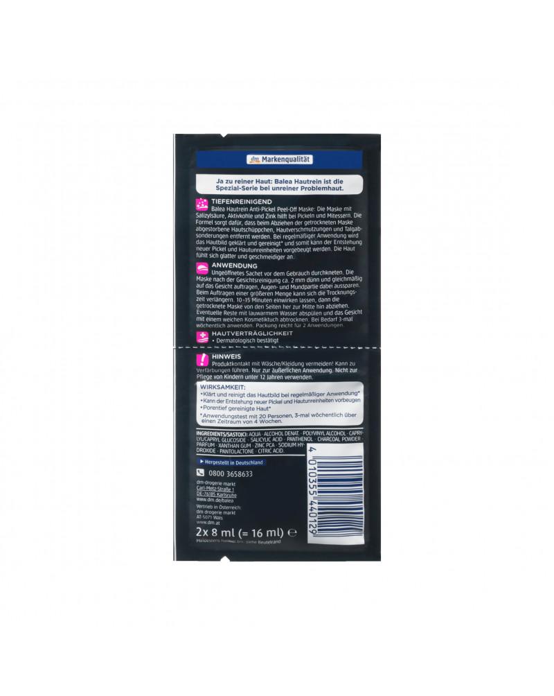 Hautrein Anti-Pickel Peel-off Maske Balea Маска-пленка для лица против черных точек с цинком и углем, 2 x 8 мл