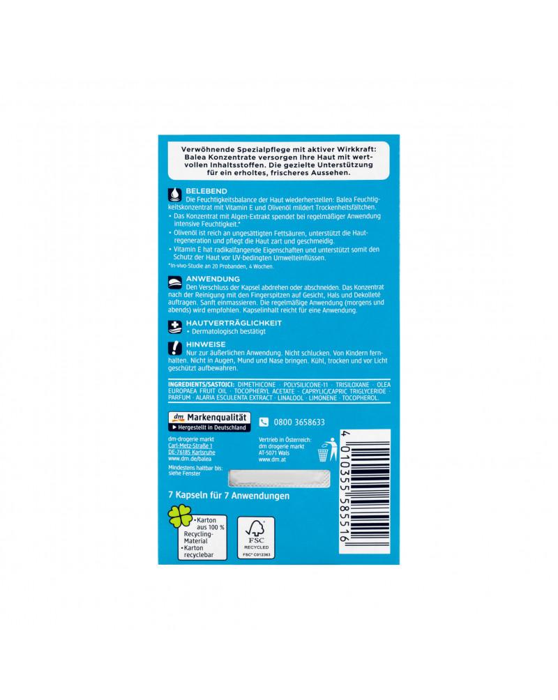 Konzentrat Feuchtigkeit Сыворотка-концентрат для лица с витамином Е, маслом оливы и экстрактом аларии, 7 шт.
