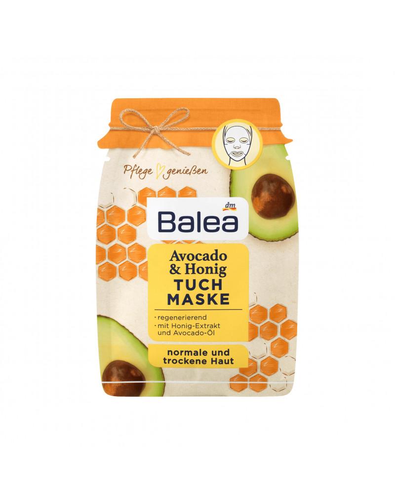 Avocado & Honig Tuchmaske Тканевая маска успокаивающая и увлажняющая, с медом и маслом авокадо, 25 мл