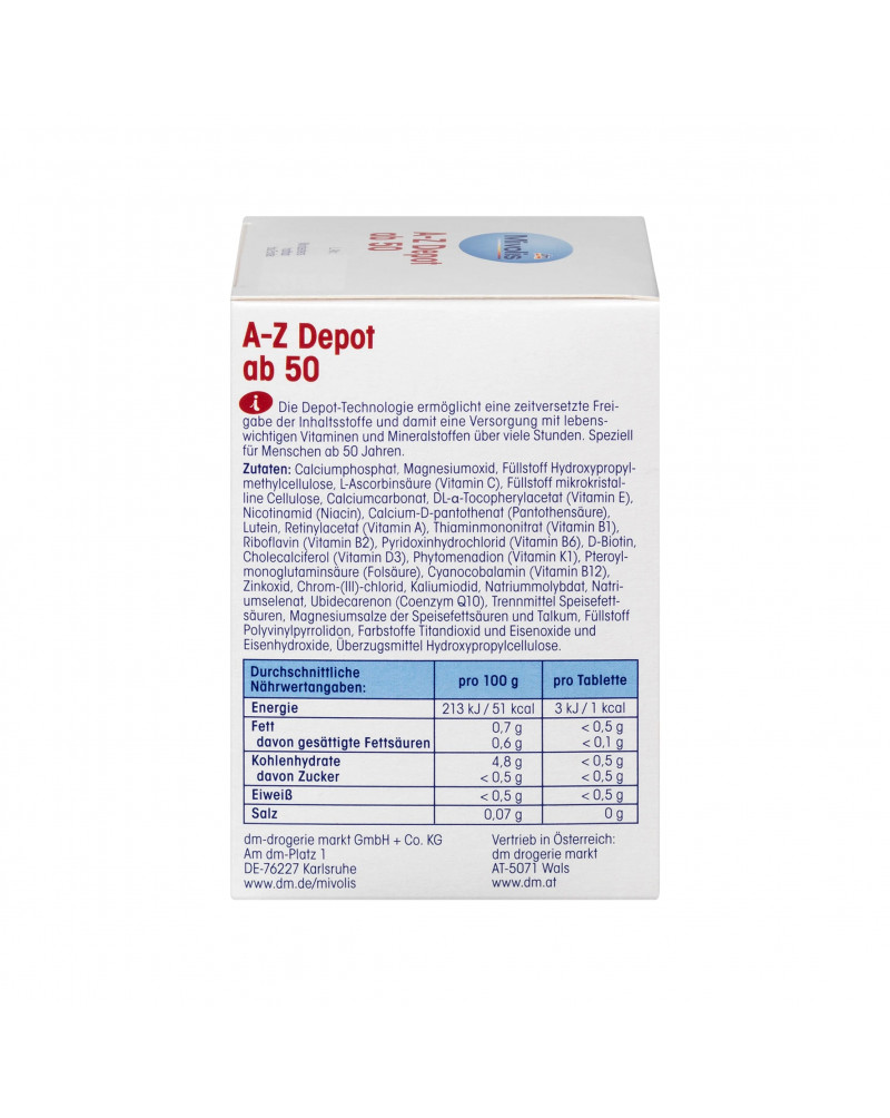 A-Z Depot ab 50, Пищевая добавка Пищевая добавка с 21 витамином, минералами и коэнзимом Q10, 100 шт., 146 гр.