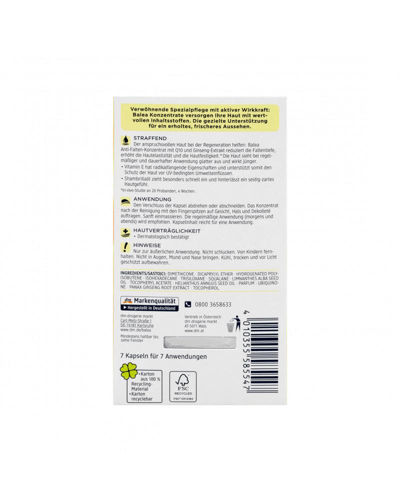 Konzentrat Q10 Anti-Falten  Сыворотка-концентрат для лица с коензимом Q10, витамином Е, экстрактом женьшеня, c маслом пенника лугового 7 шт.