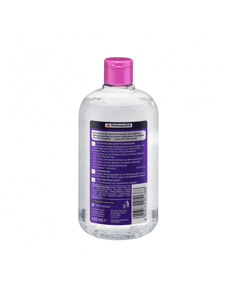 Mizellenwasser trockene und sensible Haut Мицеллярная вода для снятия макияжа с глицерином и водой апельсина, 400 мл