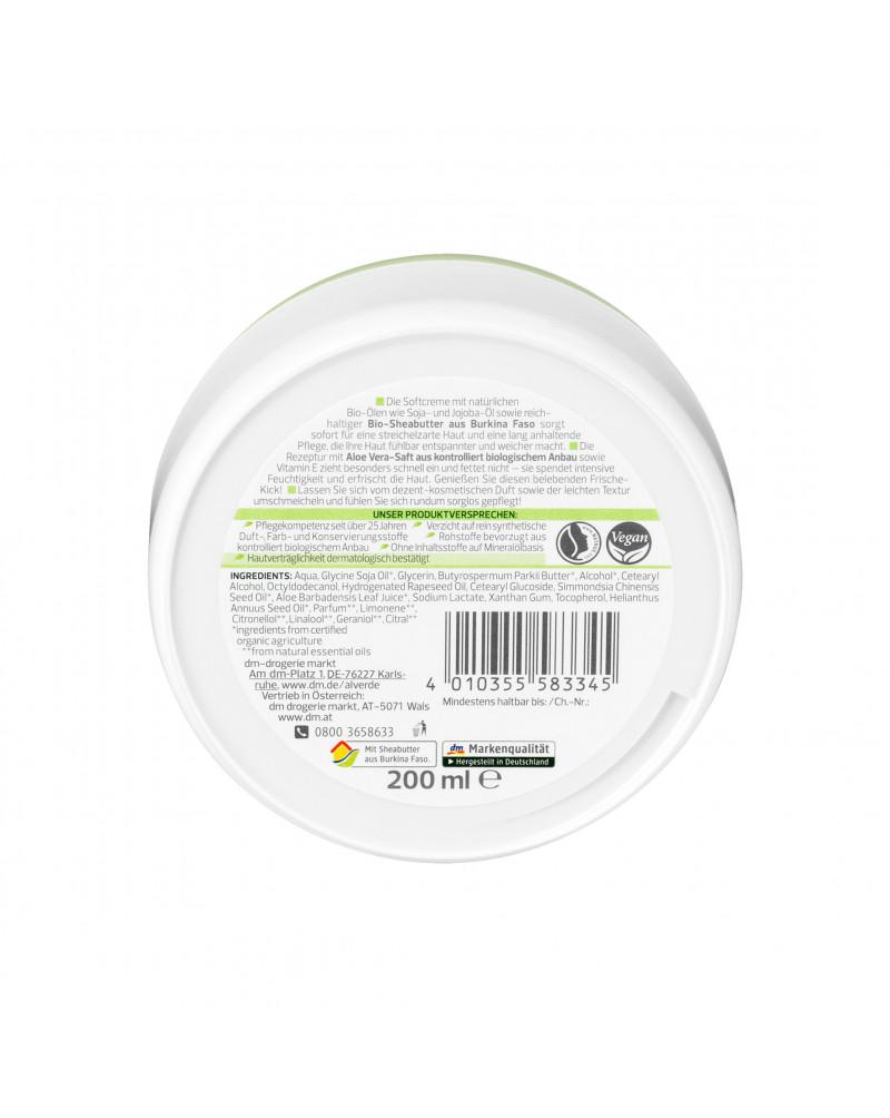 Pflegecreme Softcreme Bio-Aloe Vera und Bio-Jojoba Крем для тела с маслом Ши, жожоба, сои, экстрактом алоэ вера и витамином Е, 200 мл