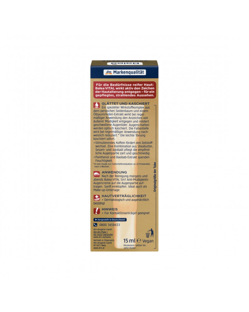 "Vital 5in1 Anti-Müdigkeits Augencreme Крем для кожи вокруг глаз ""Анти-усталость"", с экстрактом пантенола, баобаба и кофеина,15 мл"