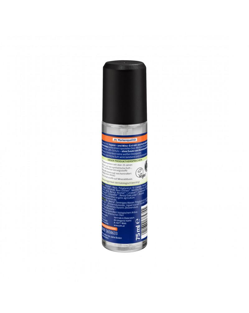 alverde MEN Sports Nature Deo Zerstäuber Дезодорант парфюмированный с экстрактом имбиря и мяты, 75 мл