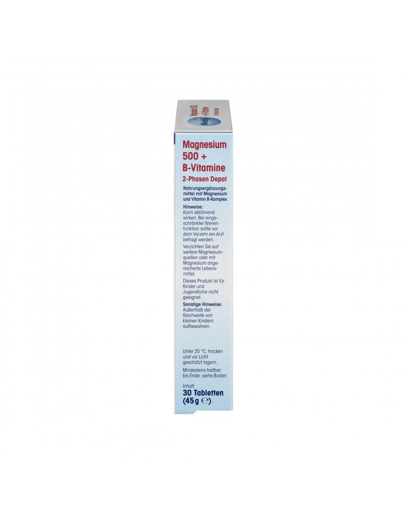 Magnesium 500 + B-Vitamine 2-Phasen Depot Магний 500 + витамины групы B, 45 гр., 30 шт.