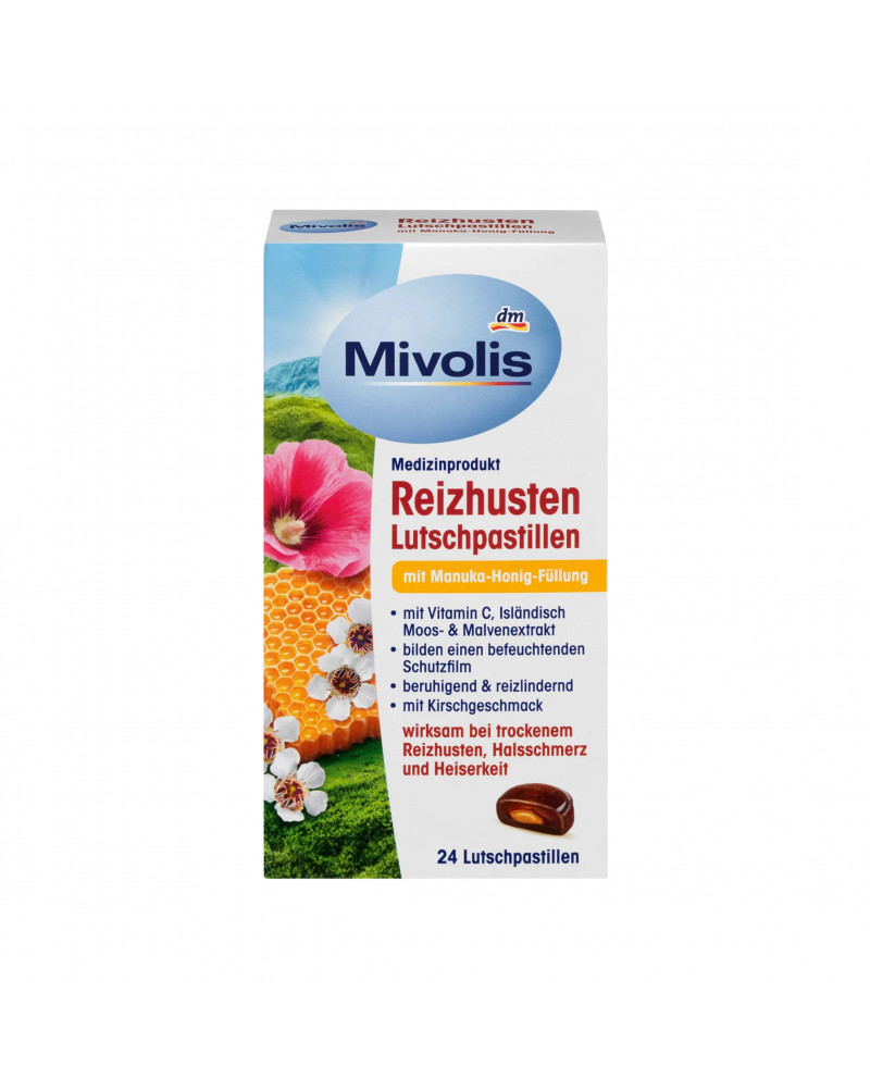 Reizhusten-Pastillen Manuka Леденцы от кашля с начинкой из меда манука, 24 шт.