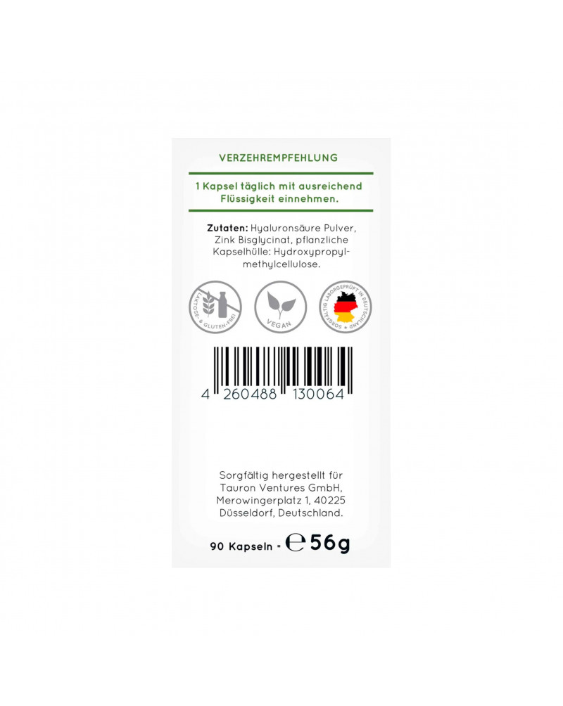 Hyaluronsäure Kapseln Капсулы с гиалуроновой кислотой, 90 Шт., 69 гр.
