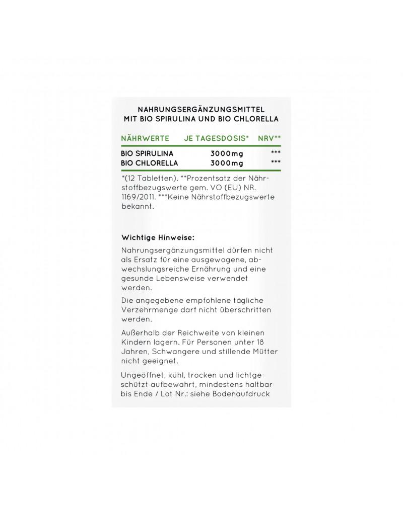 Bio Spirulina + Bio Chlorella Капмулы с органической спирулиной и гранулами хлореллы, 500 Шт.
