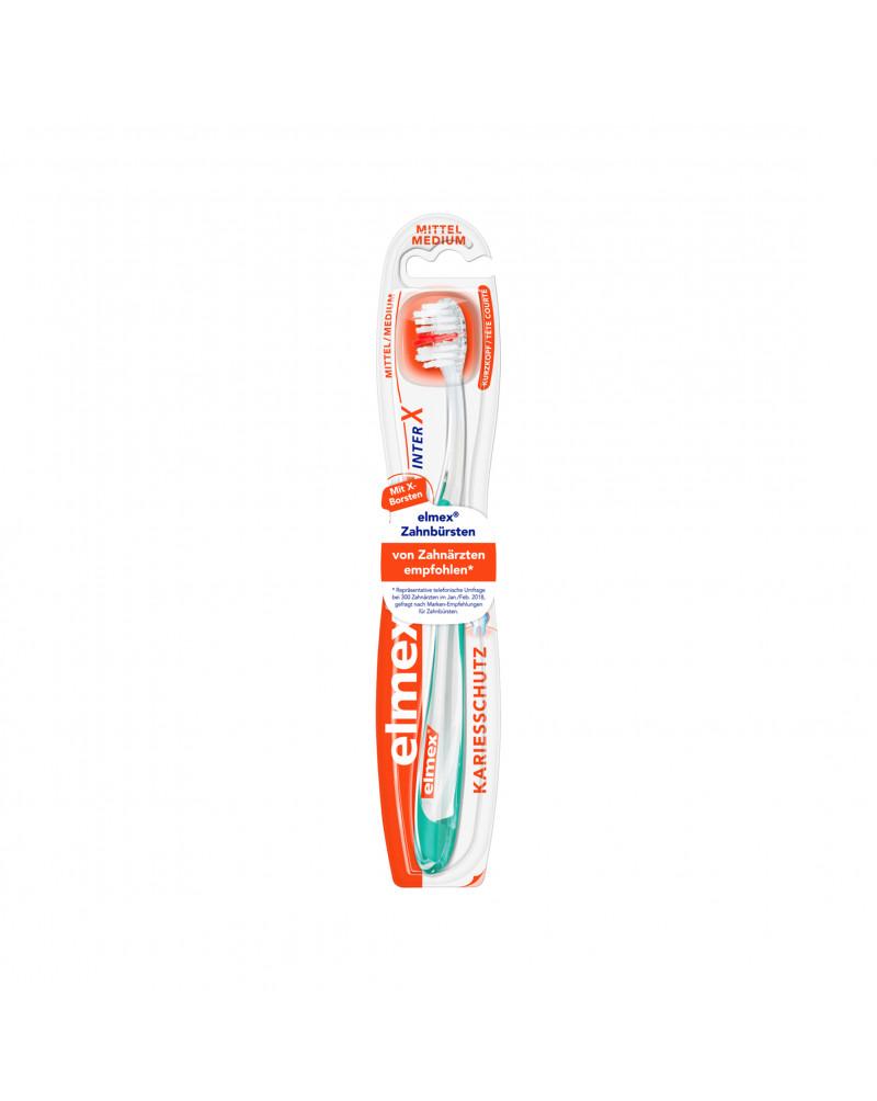 Zahnbürste InterX Kariesschutz mittel Зубная щетка с Х-образными щетинками для чистки труднодоступных межзубных промежутков, средней жесткости, 1 шт.