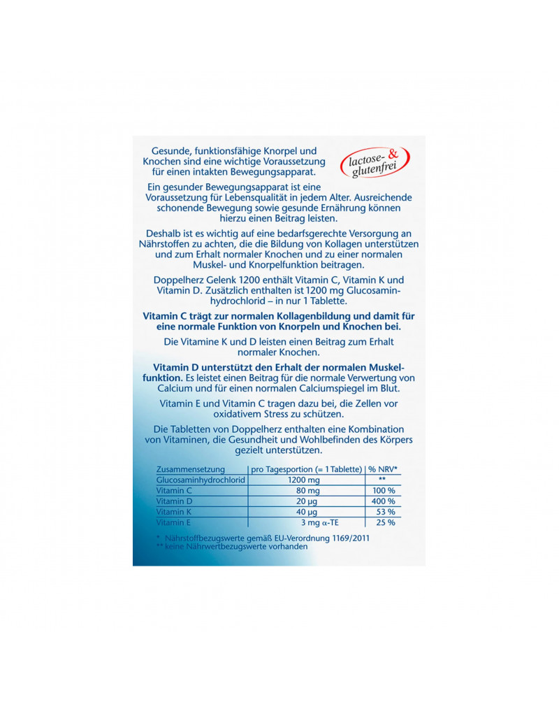 Gelenk 1200 Tabletten Витамины для суставов с глюкозамином, витамином С+D+E+K, 30 штук, 46,8 гр.