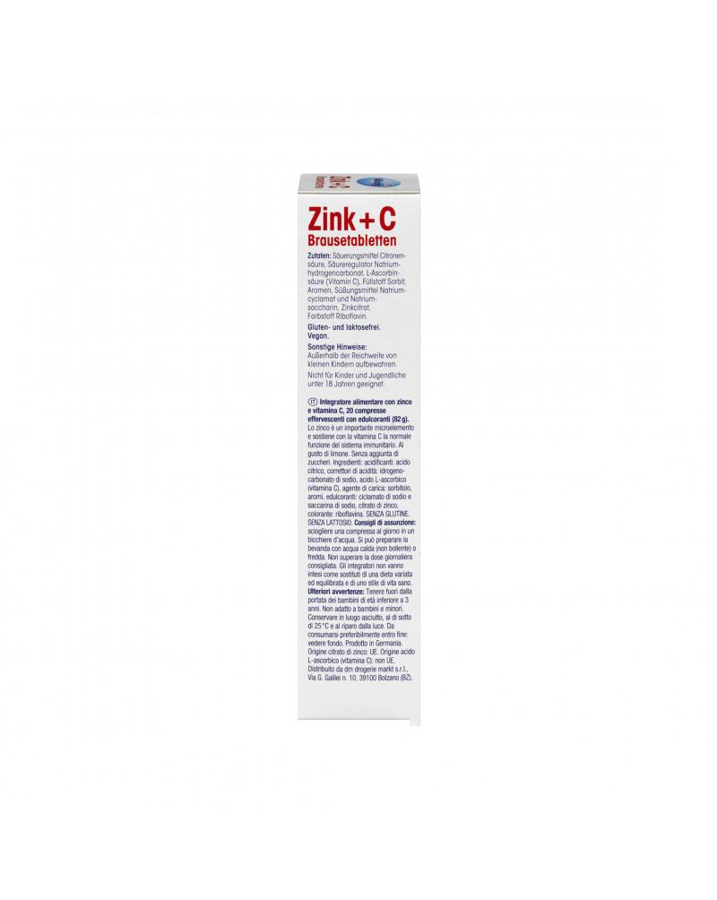 Zink + C Brausetabletten Щипучие таблетки Цинк + Витамин С, со вкусом лимона, 20 шт.