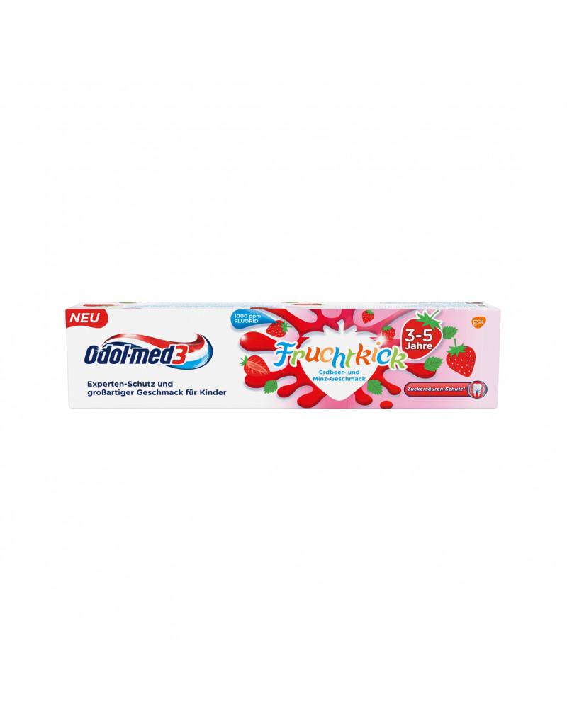 Zahnpasta Fruchtkick Детская зубная паста с клубникой и мятой, 50 мл.
