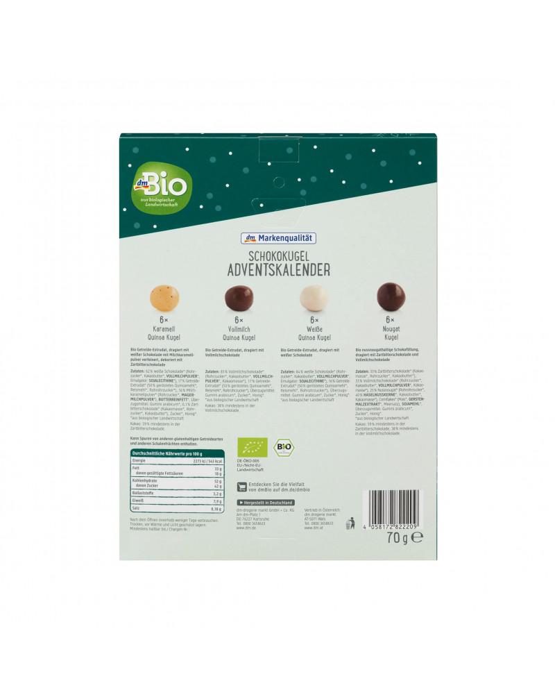 Adventskalender 2022 mit 24 Schokokugeln Адвент-календарь 2022 с 24 шоколадными шариками, 70 гр.