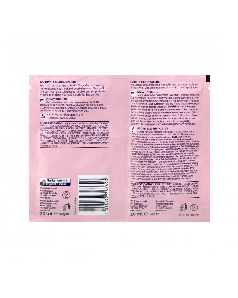 Enthaarungsduo Enthaarungscreme & Nachbehandlungsbalsam Набор для депиляции с миндальным маслом, 2 x 20 мл, 40 мл.